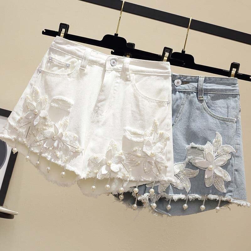 Plus Size Short Harajuku Ladies Feminino Jean Shorts Pearls Beading 5xl Women Street Fashion Ripped Hole White High Waist Flower