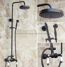 Oil Rubbed Bronze Wall Mount Shower Set Faucet Double Handle with Handshower Bathroom Shower Mixer Tap Brs476