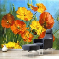 Custom Photo Wallpaper Beautiful Dreamy Romantic Fern Blooming Colorful Poppies Wallpaper Bedrooms Non Woven Fabric Wall Mural