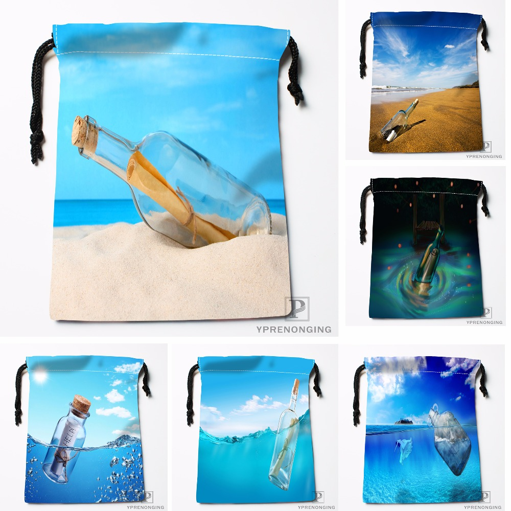 Custom Message Bottle Sea Underwater Drawstring Bags Travel Storage Mini Pouch Swim Hiking Toy Bag Size 18x22cm#0412-04-232
