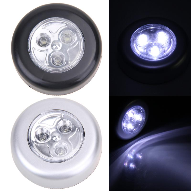 Mini Touch Light 3 LED Cordless Stick Tap Wardrobe Touch Lamp Battery Powered Round Veilleuse Cordless Cars Cabinets Lamp