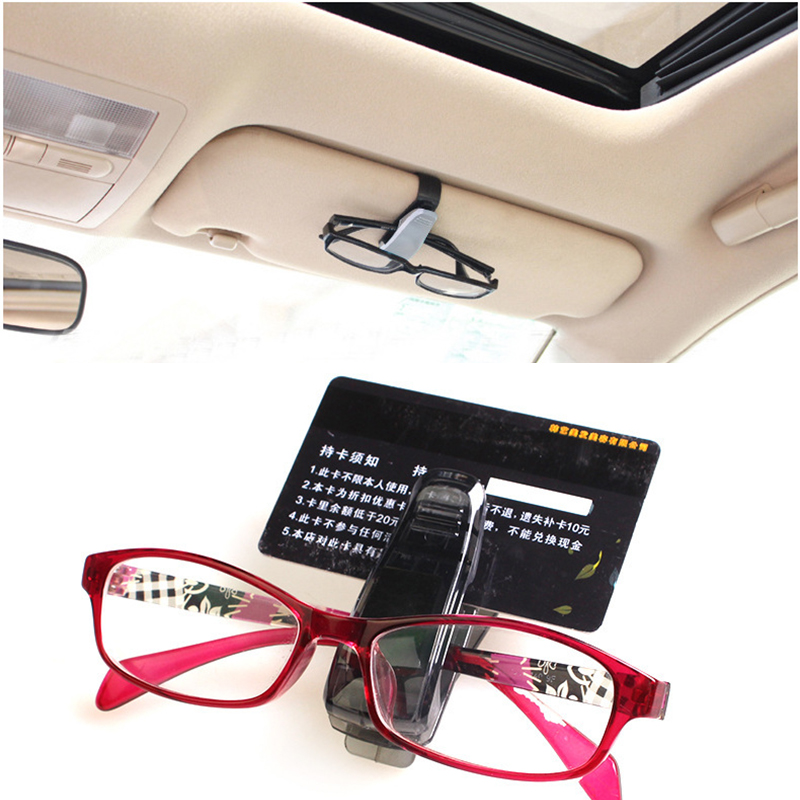 2pcs auto fastener abs car vehicle sun visor sunglasses eyeglasses glasses holder card ticket. Black Bedroom Furniture Sets. Home Design Ideas