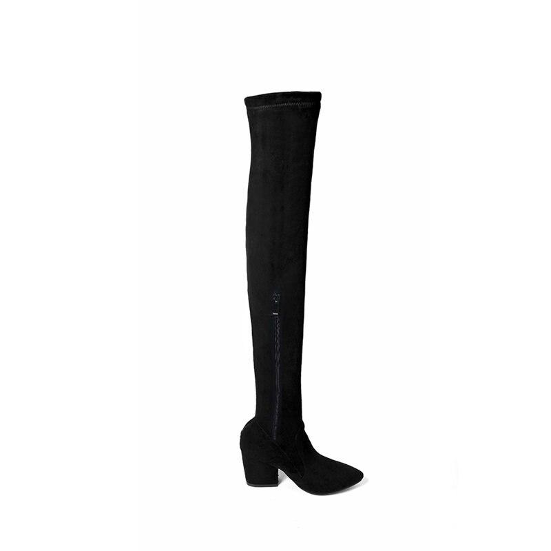 2018 Simple Nouveau Le Arrivent Haute Slip gris Classic Les Épais Sur Femmes Noir Zipper Bottes Memunia Talons Genou Cuisse tsCxQrBohd