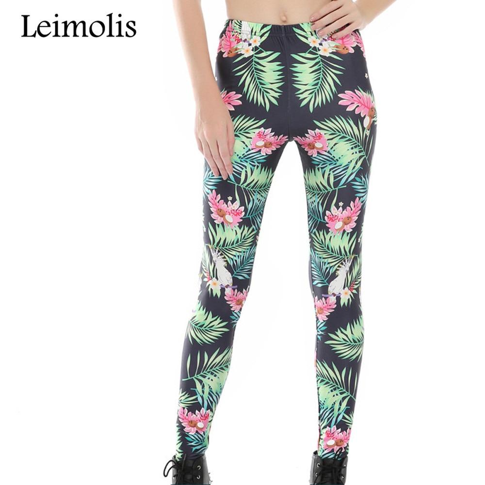 Leimolis 3D print Flower plant bird Harajuku punk High Waist workout push up spandex plus size fitness leggings women pants