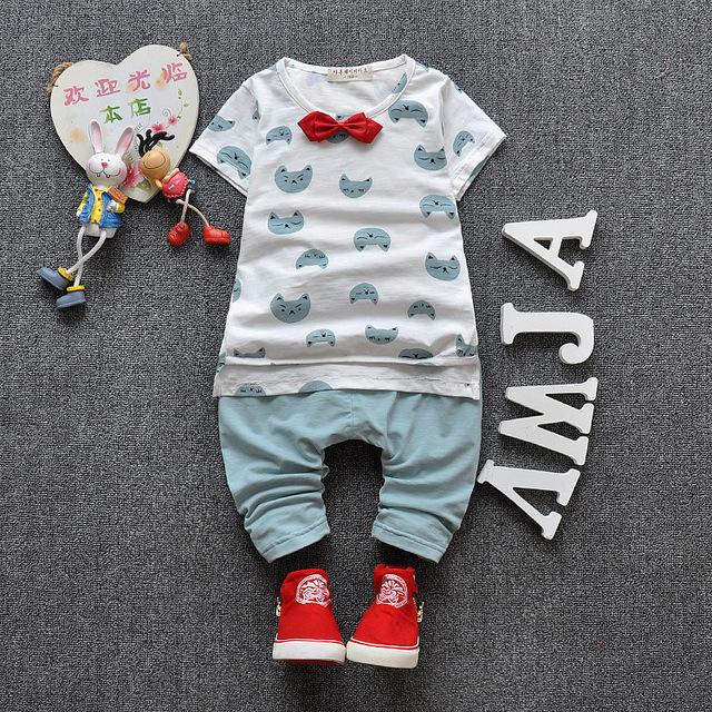 2016 primavera outono roupa do bebê Set Cat Bowknot algodão roupas de bebê recém-nascido de alta qualidade menina menino camisa + calças crianças conjuntos