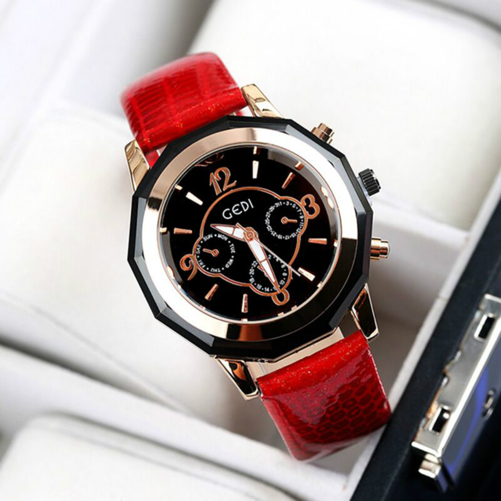 ФОТО 2017 GEDI Luxury Brand Design Ladies Watch Women leather strap Bracelet rhinestone Crystal Diamond Quartz-watch Clock Women