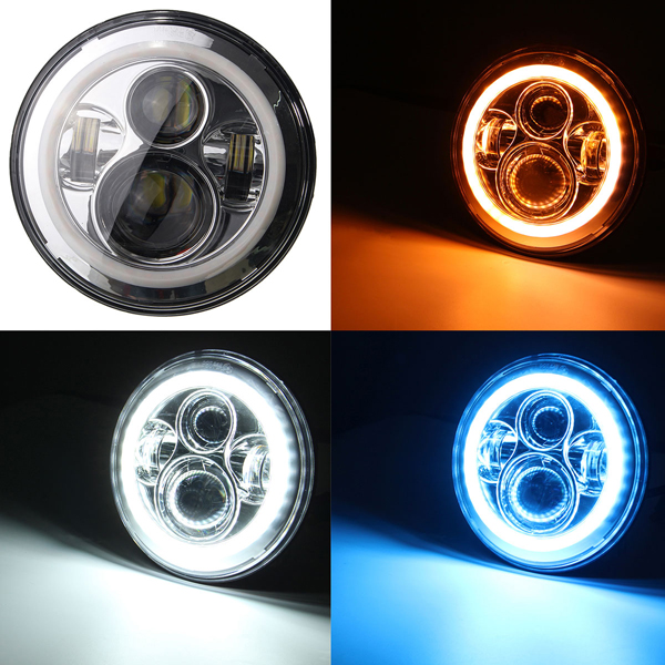 LED Headlights Bulb 7 inch with Halo Angel Eye Ring & DRL & Turn Signal Lights for Jee-p Wrangler JK LJ CJ Hummer H1 H2 Harley 7 led headlights bulb rgb halo angel eye with bluetooth remote for 1997 2016 jeep wrangler jk lj cj hummer h1 h2 headlamp