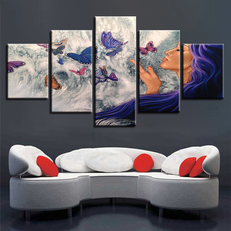 Modular Pictures Canvas Art 5 Pieces Woman And Butterfly HD Prints Poster Frame Decor Modern Living Room Wall Abstract Paintings no frame canvas