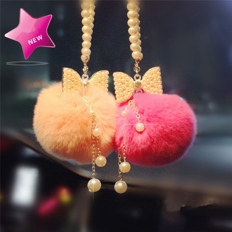 Monchhichi fur ball pompom plated bowknot pearl Car Pendan l Rear view mirror rabbit Christmas lady