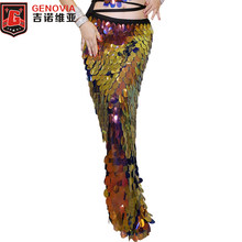 DE Deluxe Little Mermaid Buikdans Kostuum Rok Sexy Halloween Hot Ariel Sparkling Sequin Buikdans Hip Sjaal Rok S -XL(China)