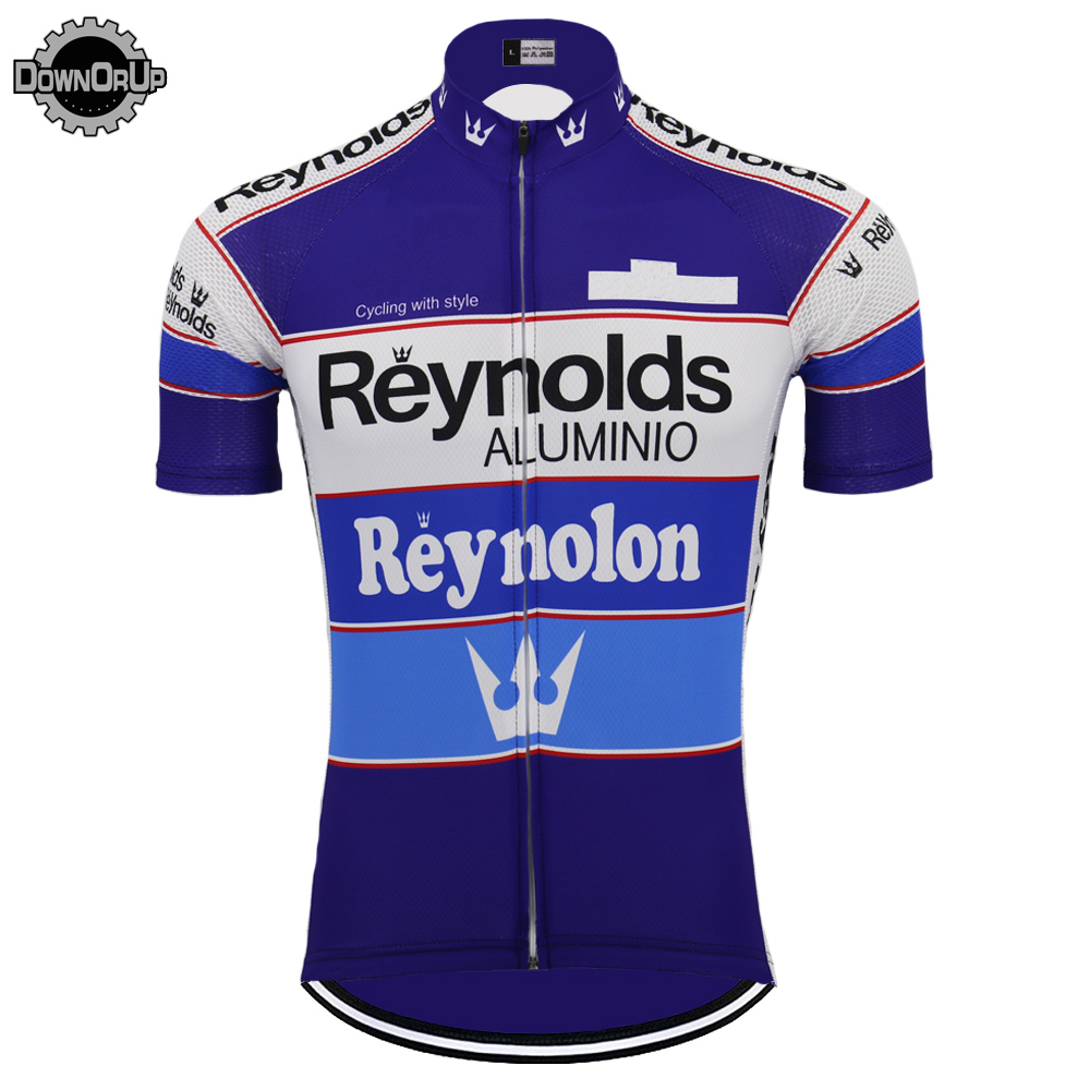 2019 Retro REYNOLDS cycling jersey men summer RACE Team BLUE Bike Cycling Jersey Tops MTB Customized racing clothes Triathlon-in Cycling Jerseys from Sports & Entertainment