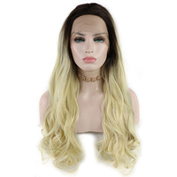 Ombre Blonde Synthetic Lace Front Wigs For Black Women 2 Tone Color Black Roots Long Natural Wavy Heat Resistant Synthetic Hair
