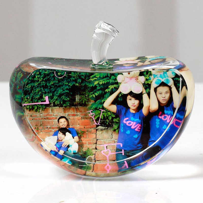 80mm Apple Shaped Crystal Photo Frame Customized Glass Picture Frame DIY Wedding Family Photo Album For Gifts