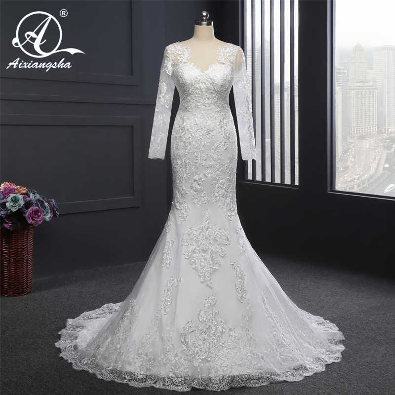 Charming Mermaid Long Sleeves Wedding Gowns Bridal Wedding Dress Bride Vestido de noiva Glormous Appliques Lace