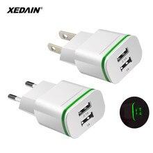 XEDAIN, хорошая штепсельная вилка европейского стандарта, 5 В, 2 usb-порта, для быстрой зарядки телефона, настенный адаптер питания, светодиодный светильник, usb-кабель для зарядки iPhone 5, 6, 7, 8, ipad