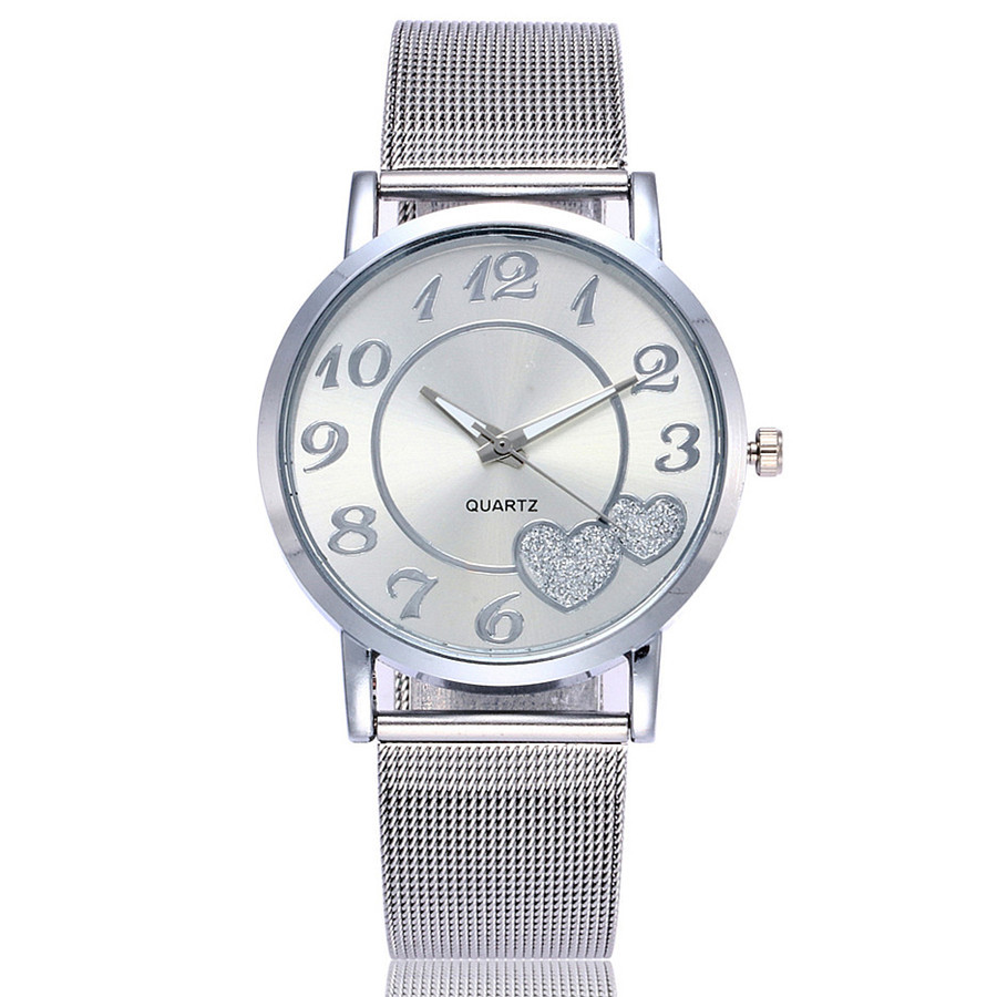 Dropshipping Women Silver & Gold Mesh Love Heart Dial Wristwatches Fashion Casual Women's Steel Quartz Watches Relogio Feminino