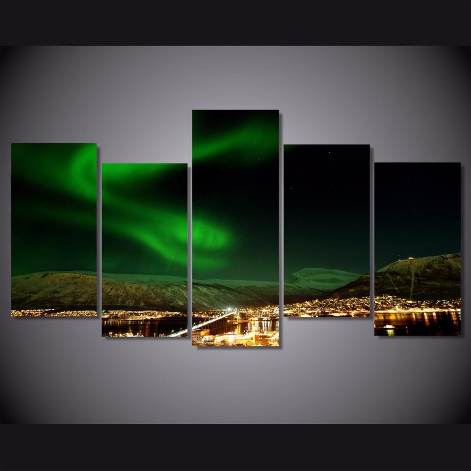 5 шт. холсте красочные Aurora Borealis живопись украшение для дома стены искусства на холсте гостиная Декор Книги по искусству изображение QX101