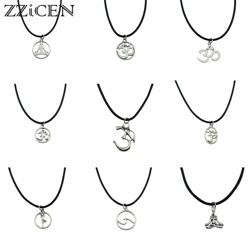 New Hindu Buddhist Antique Yoga OHM AUM OM Symbol Pendant Leather Necklace for Women Men Vintage Yoga OM Indian Jewelry