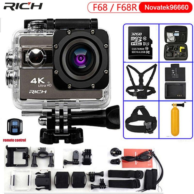 Câmera de ação ultra hd f68 f68r 4 k 24fps novatek 96660 para sony imx078 lente remoto wifi ir à prova dwaterproof água 30m pro câmera esportiva