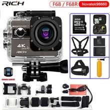 Câmera de ação ultra hd f68r 4k, 24fps novatek 96660, para lente remota da sony imx078, wi fi, à prova d água 30m câmera esportiva pro