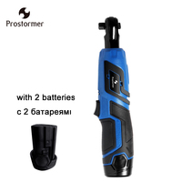Prostormer 3/8 Rechargeable Electric Cordless Wrench with 2 Lithium Batteries 12V Power Tool Ratchet wrench Portable wrench