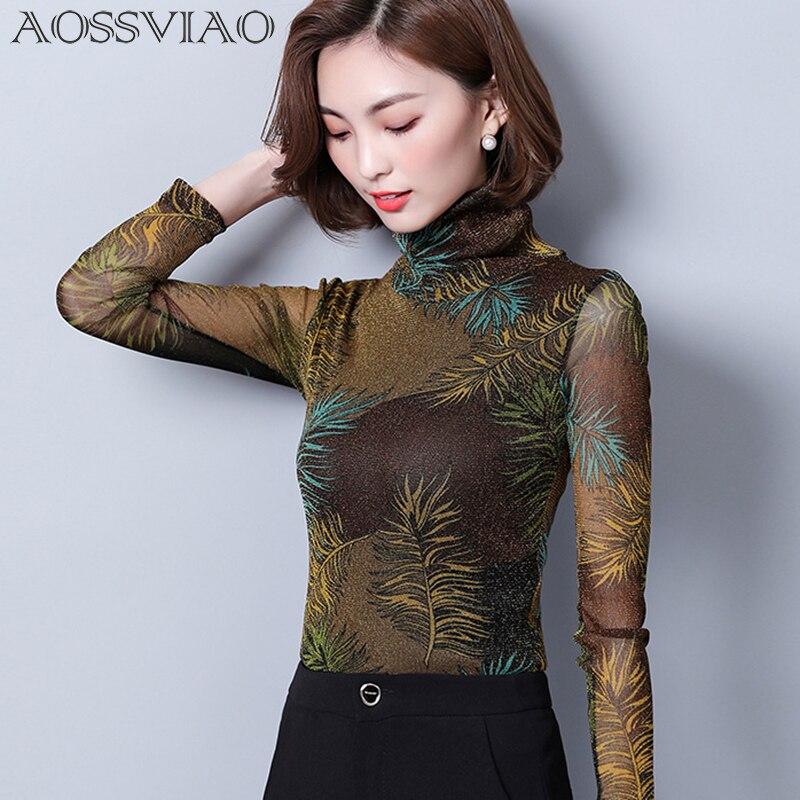 Print Floral Shirt Mesh Turtleneck Vintage Blouse Long Sleeve Womens Tops 2019 Autumn Slim Korean Women Shirts Camisas Femininas