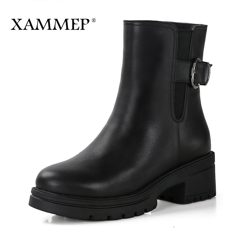 Women Winter Shoes Women Genuine Leather Natural Wool Boots Brand Women Shoes Mid Calf Boots High