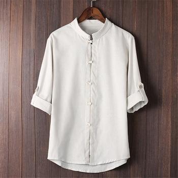 7e9877c00e 2019 hombres camisas de algodón de lino de manga tres cuartos botón Collar  camisa Casual Retro chino Kung Fu camisa de gran tamaño