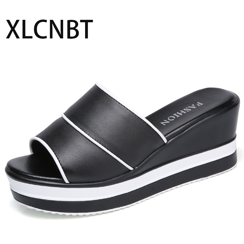 leather slipper women high heel 2018 summer ms leather sandals fish mouth shoes female cool shoes outside high quality slide