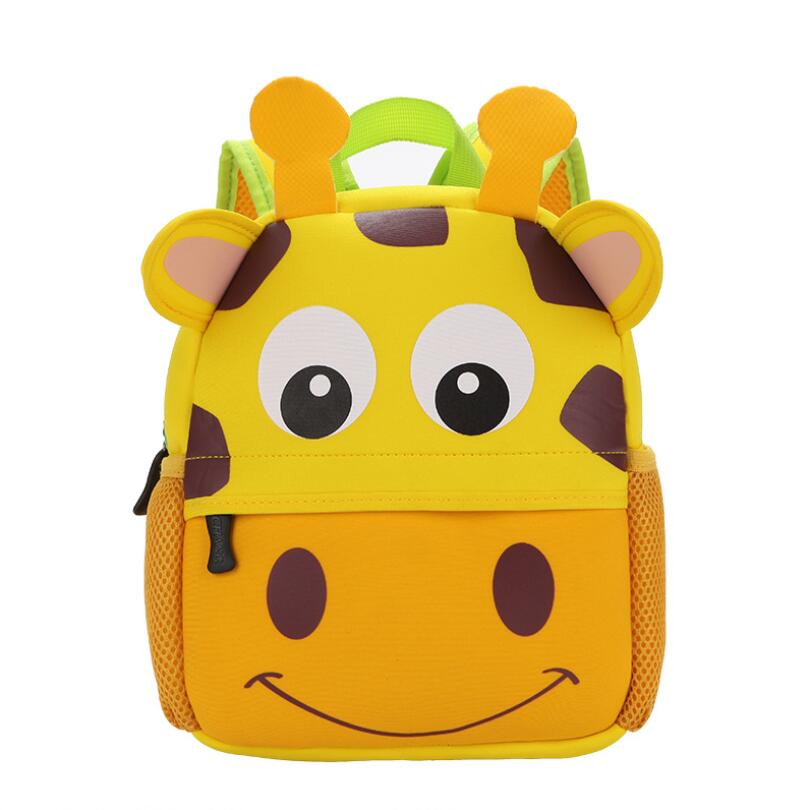 Неопрен детей 3D дети мешок милые животные Дизайн рюкзак малыша школьные сумки детский сад мультфильм сумка Жираф Обезьяна Сова ...