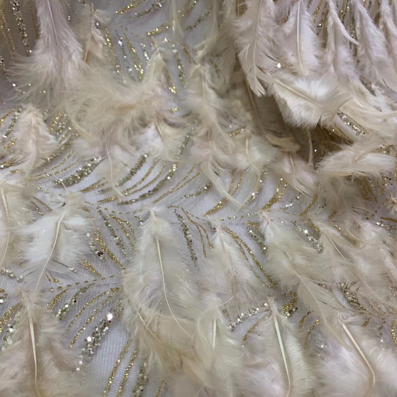 Top grade feather lace fabric african lace fabric 2019 high quality wedding dress lace evening/show dress lace fabric DG044