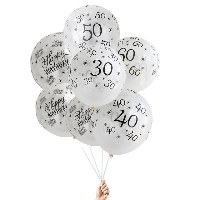 10pcs 12inch White 30th 40th 50th Happy 30 Birthday Balloons Decoration Wedding Anniversary Balloon Black Party
