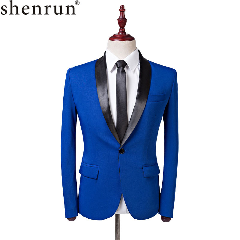 Shenrun Men Suit Jacket Casual Fashion Royal Blue Tuxedo Slim Fit Shawl Lapel Male Blazer Wedding Business Jackets Party Costume