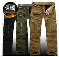 winter Men fashion leisure fleece warm multi-pockets overalls pants free shipping
