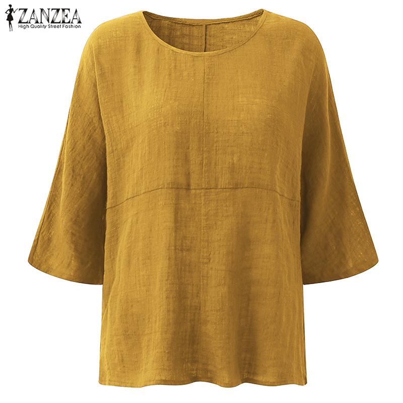 ZANZEA Women Spring 3//4 Sleeve Casual Baggy Blouse Ladies Cotton T-shirt Tops