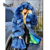 BFFUR Fashion Womens Natural Fox Furs Coat Real 2018 Winter Palace New Genuine Leather Jacket Female With Big Fur Hood Full Pelt
