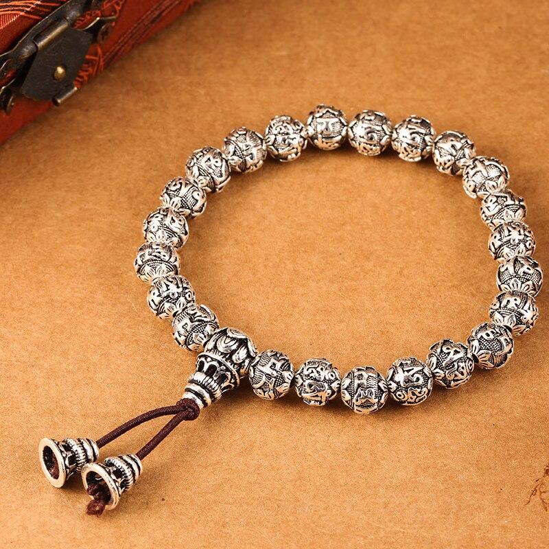 ZABRA 100% 990 Sterling Silver Handmade Vintage Tibetan Buddhism Rope Bracelet Men Women Six Words Mantras Bead Bracelet Jewelry