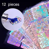 12 blätter/Lot Laser Nagel Vinyls Laser Unregelmäßigen Raster Schablone Polnischen Übertragen Maniküre Werkzeuge Nail art Aufkleber Stanzen Vorlage
