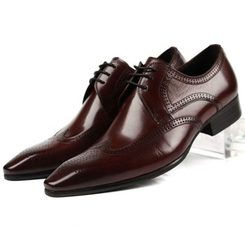 Large Size Eur45 Black / Brown Tan Oxfords Mens Business Shoes Genuine Leather Groom Dress Shoes Boys Prom Shoes