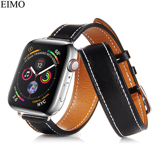 EIMO Genuine leather Loop Strap For Apple Watch Hermes 4 44mm 40mm iwatch  band serise 4 Double Tour Wrist bracelet watchband e8c4b126661