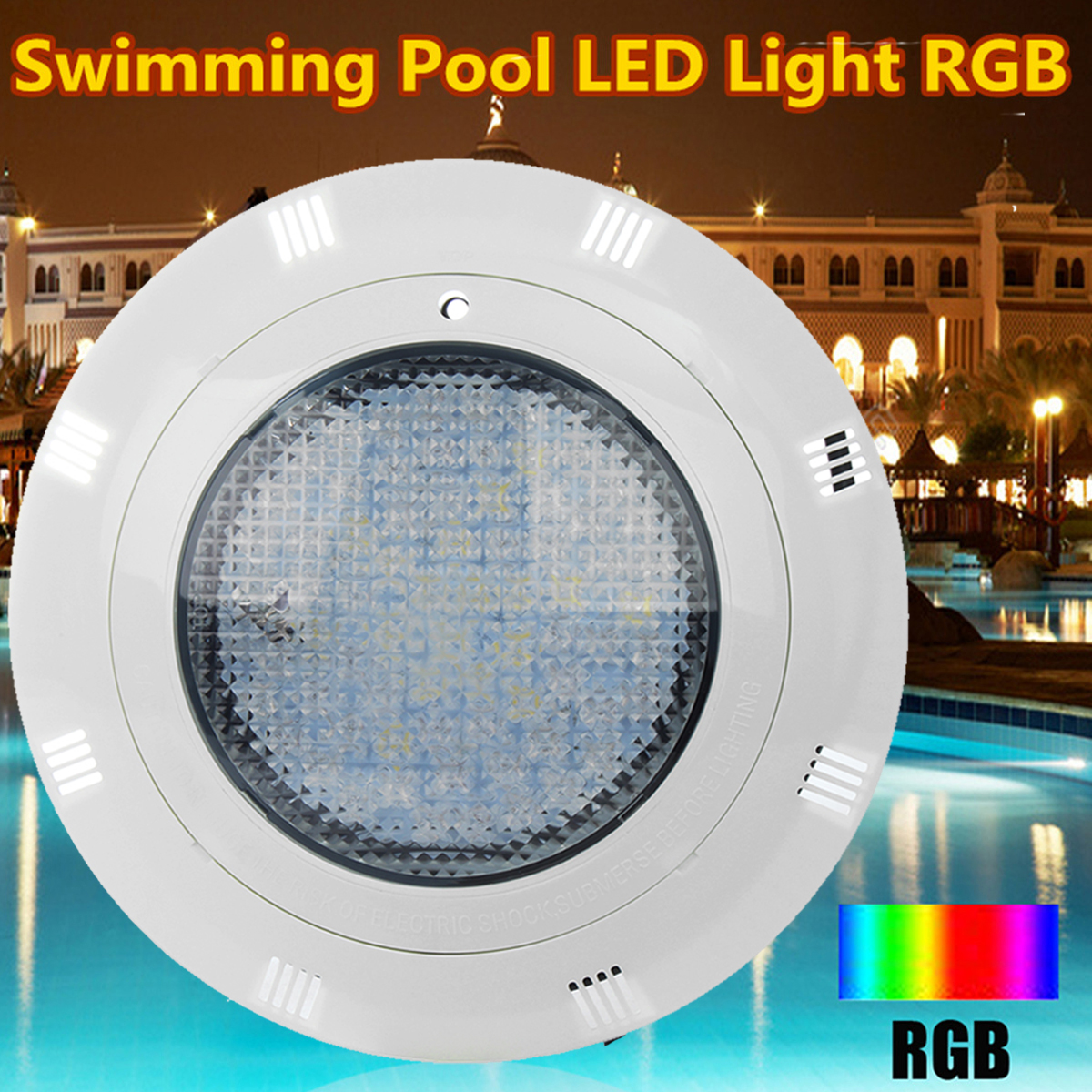 1PC 12V 60W IP68 7 Color RGB Swimming Pool Underrwater LED Light 60pcs LED Lighting with Remote Control