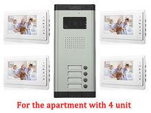 Apartment 4 Unit Intercom Entry System Wired Video Door Phone Audio Visual IR Camera doorphone monitor Speakerphone intercom