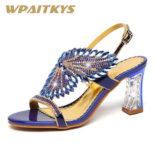 Exquisite Golden Purple Blue Three Colors Available Rhinestone Sandals Women Shoes Fashion Crystal Leather Casual