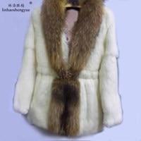 Linhaoshengyue Raccoon Fur Collar Rabbit fur coat