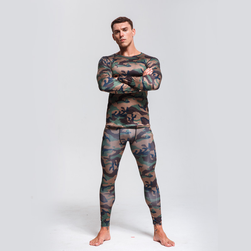 Camouflage Suit  Men's Thermal Underwear Quick-drying Sportswear  Long Johns Winter Thermal Underwear Rashgard Male  Sport Suit