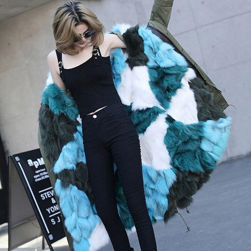 Grand collier de fourrure de Raton Laveur Naturel 2018 Marque Mode Femme Luxueux Parkas Réel Fourrure De Renard Doublure Manteau Longue Veste D'hiver Femmes