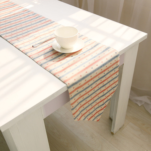 High Quality Doule Layer Red Blue Anchor Household Rectangle Linen Table  Runner For Dining Table Decoration