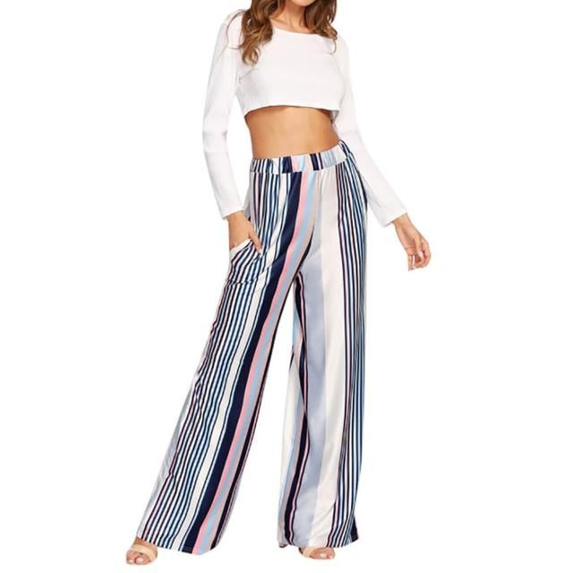 MUQGEW Trousers for women Casual Multicolor Stripe Print Wide Leg Pants Loose