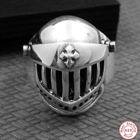 2019 Vintage 925 Sterling Silver Mens Ring Skull Helmet Armor Ring Personality Fine Jewelry Handmade Men's and women charm ring