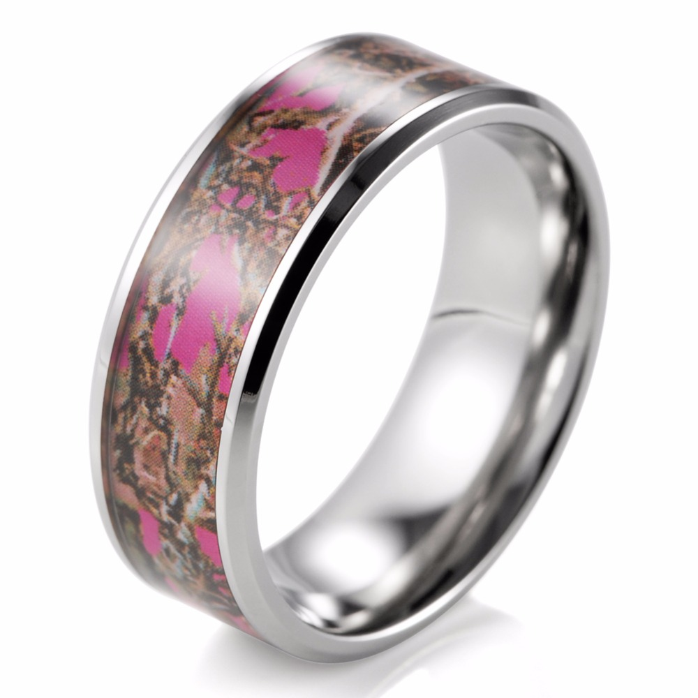 8mm Pink Muddy Girl Camo Ring Beveled Titanium Camouflage Wedding